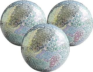 WH Housewares Glass Decorative Balls Set of 3 Glass Mosaic Sphere Dia 4
