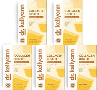 Bone Broth Collagen Powder Packets by Dr. Kellyann - 100% Grass-Fed Hydrolyzed Collagen - Perfect Supplement for Keto, Paleo & Weight Loss Diets (35 Servings, 5 Boxes)