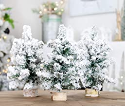 AuldHome Mini Christmas Trees (3-Pack, 10-Inch, Flocked); Canadian Pine Greenery Tabletop..