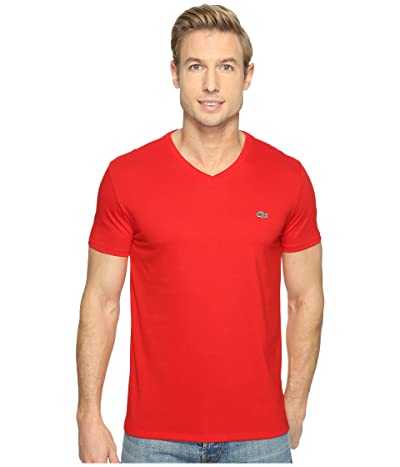 Lacoste Short Sleeve Pima Jersey V-Neck T-Shirt (Red) Men