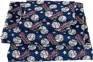 Fancy Linen 3pc Twin Sheet Set Vintage Baseball Dark Blue White Red New
