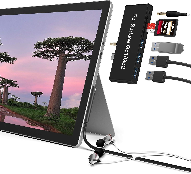 Surface Go/Surface Go2 Hub, 6-in-2 USB C Surface Go/Go 2 Docking Station with USB 3.0+2 USB2.0 Ports, 3.5mm Earphones Jack,SD/TF Card Reader(Surface Go/Surface Go 2 Adapter)