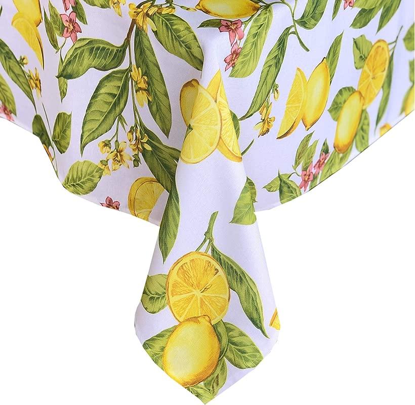 Newbridge Lemon Zest Botanical Print Indoor Outdoor Fabric Tablecloth Yellow Lemon Vine Soil Resistant Water Repellent Fabric Tablecloth 52 Inch X 70 Inch Oblong Rectangular