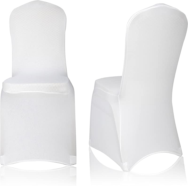 EMART Set Of 100pcs White Color Polyester Spandex Banquet Wedding Party Chair Covers