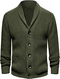 KTWOLEN Mens Shawl Collar Cardigan Long Sleeve Chunky Knit Sweater Button Down Casual Winter Coat Jumper with Pockets