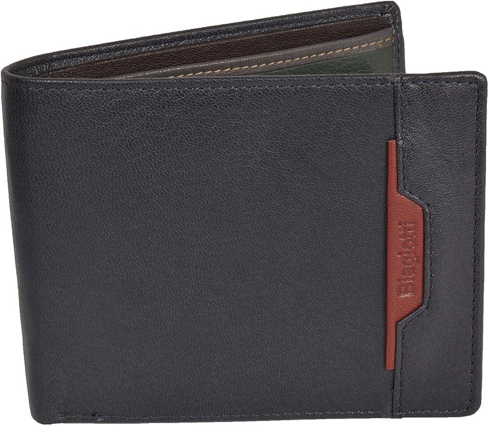 Laura biagiotti uomo, portafoglio , porta carte di credito in vera pelle, Blu 762