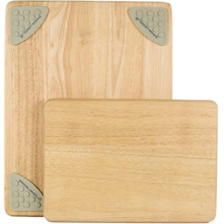 Architec Gripperwood Cutting Boards, Set of 2, Beechwood with Non-slip Gripper Feet, 11 by 8-Inches and 14 by 11-inches