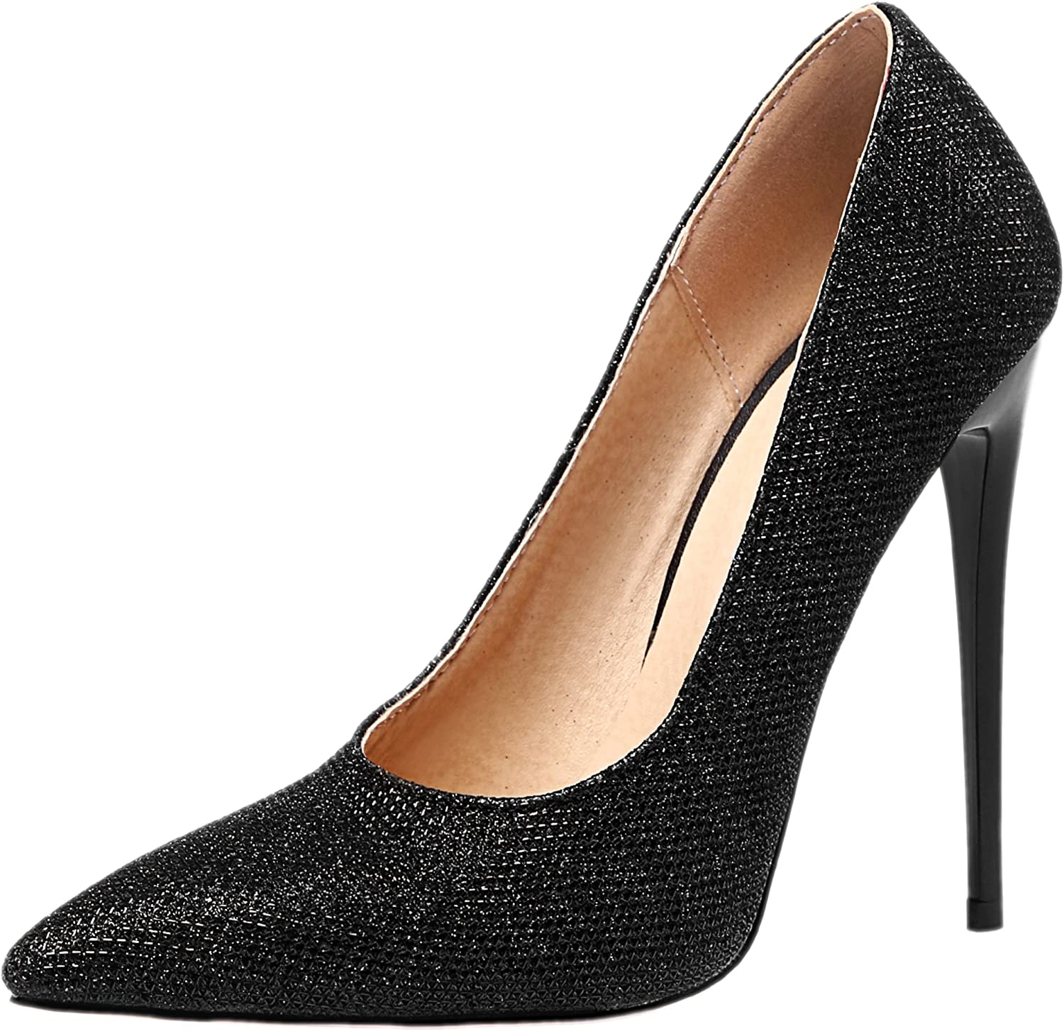Rongzhi Womens High Heels Stilettos Slip on Party Dress Pumps shoes Clubwear Prom Pointed Toe