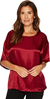 Womens Casual Satin Relaxed Tee