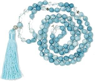 Larimar Accessories | Premium 8MM 108 Mala Beads Necklace with Tassel | Mala Gemstone Necklace | Mala Yoga Necklace | Mala Meditation Beads | Jewelry for Women Men | (Larimar & Clear Quartz)