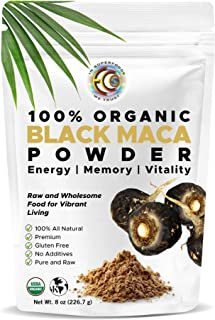 Ultra-Pure Organic Black Maca Root Powder | Raw | Natural Superfood Mix | Essential Vitamins, Minerals & Fatty Acids For I...