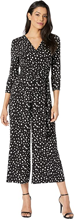 Polka Dot Jersey Faux Wrap Jumpsuit