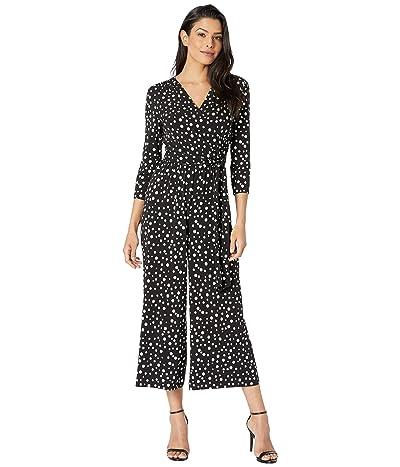 Donna Morgan Polka Dot Jersey Faux Wrap Jumpsuit (Black/Ivory Multi) Women