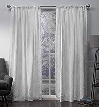 زوج ستارة نافذة من قماش الشانيل الحصرية Home Elena Wave مع جيب قضيب جيب، 52x108، أبيض شتوي، قطعتان