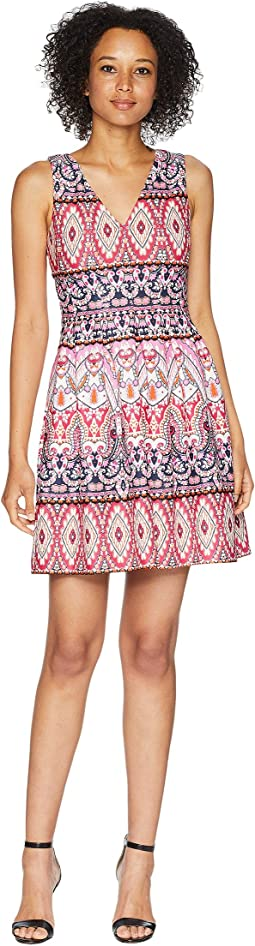 Printed Scuba Double V-Neck Fit and Flare Dress