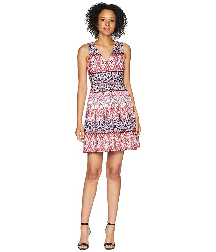 Vince Camuto Printed Scuba Double V Neck Fit And Flare