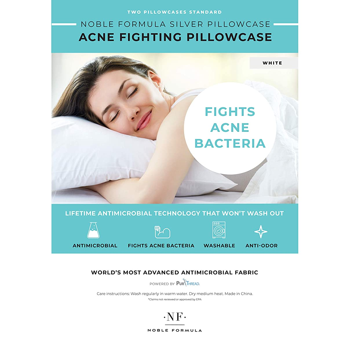 Noble Kleen Silver Acne Fighting Antimicrobial Pillowcase with PurThread Silver Technology, White, 2 Standard Pillowcases