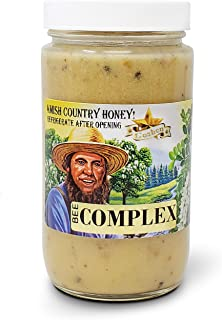 Goshen Honey Amish Raw BEE COMPLEX Honey | 4 Types of Honey & 4 Most Important Bee Hive Products 100% Natural Honey with Health Benefits Unfiltered | 1 Lb Glass Jar
