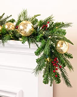 Balsam Hill Pine Peak Holiday Prelit Artificial Christmas Garland, 6 Feet, LED Clear Lights