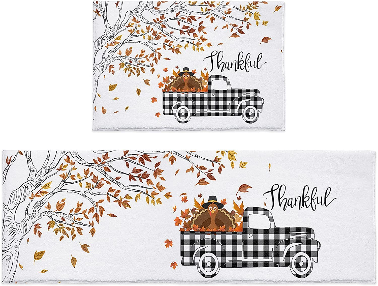 Kitchen Rug Sets 2 Piece Thanksgiving Leaf A surprise price is Max 82% OFF realized Fall Turkey Tr Branch