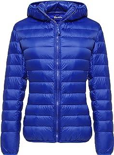 Wantdo Women's Down Coat Outdoor Hooded Lightweight Short Down Jacket