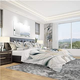 "DesignArt Duvet Cover 3 Piece Set - Ultra Soft Hypoallergenic Modern Microfiber Bedding Set - White Stained Glass Floral Art Modern & Contemporary Design - King Size 104"" x 88"""