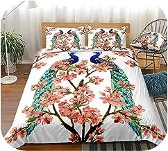 Flower Duvet Cover Set Cherry Blossoms Bedding Set Linen Boys Girl Home Textile Floral Bedclothe-Pink-UK Double