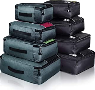 8 Set Packing Cubes, Travel Luggage Bags Organizers Mixed Color Set (Black Grey)