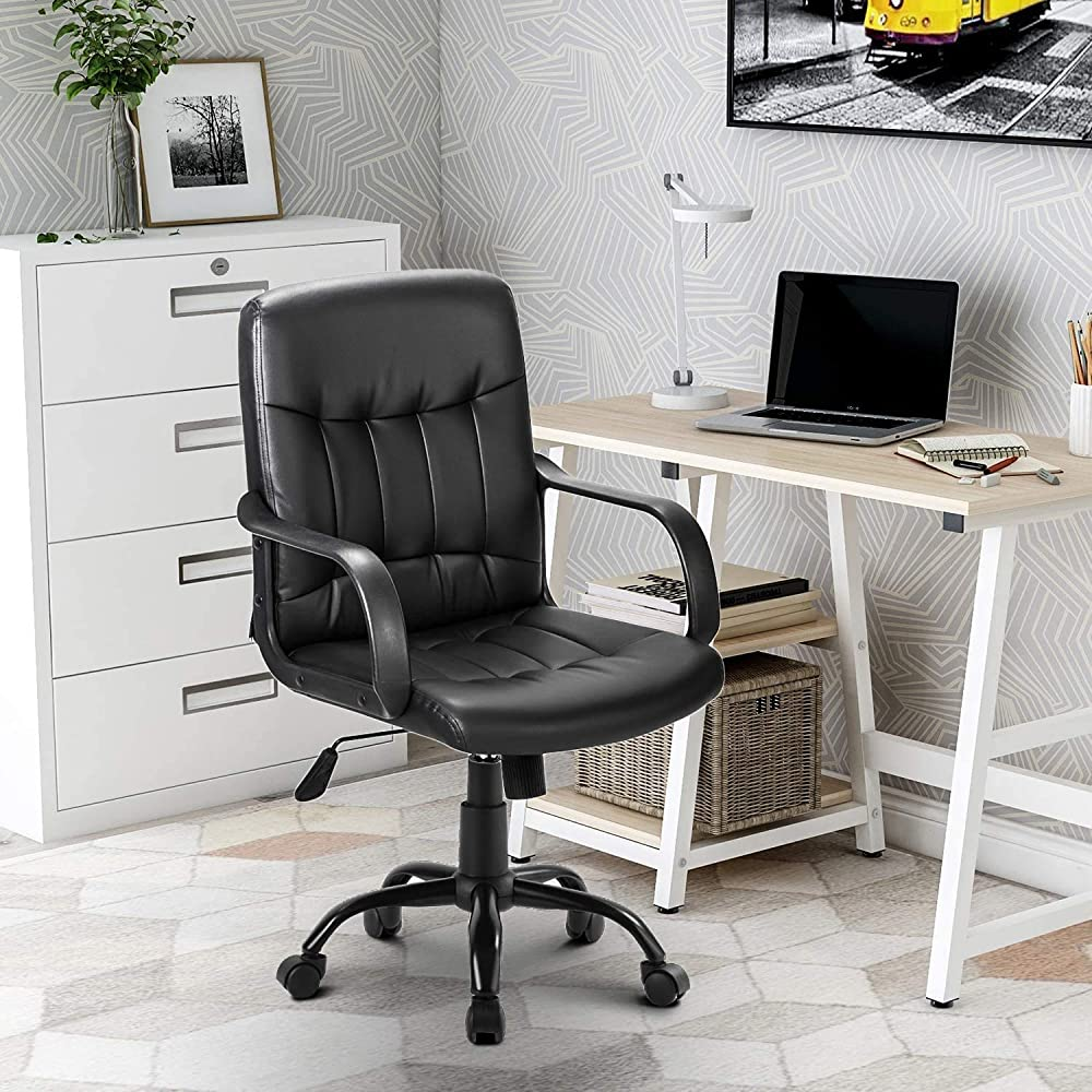 Merax, sedia girevole da ufficio, in ecopelle,imbottita,regolabile in altezza e reclinabile