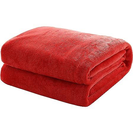 Kuscheldecke Tagesdecke Fleecedecke-Wohndecke-Coral Fleece Decke Felloptik Rot