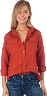 CAMIXA Women's Linen Button-Down Two Pockets Shirt Go Casual Chic