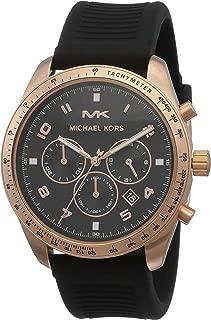 Michael Kors Men's Keaton Stainless Steel Quartz Watch with Silicone Strap, Black, 22 (Model: MK8687)