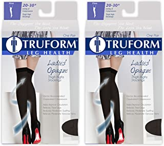 Truform Compression 20-30 mmHg Thigh High Open Toe Stockings Black, Medium, 2 Count