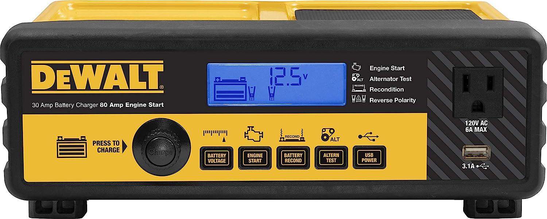 DEWALT DXAEC801B 30 Amp Bench Battery Charger: 80 Amp Engine Start, 2 Amp Maintainer, 120V AC Outlet, 3.1A USB Port, Battery Clamps