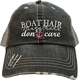 Go All Out Adult Boat Hair Don't Care Embroidered Distressed Trucker Cap