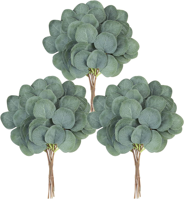ZIFTY 30-Pcs Artificial Eucalyptus Stems Bulk Silver Dollar Leaves for Wedding Greenery Decoration Floral Bouquets Wreath Arrangement Decor (Green Oval)