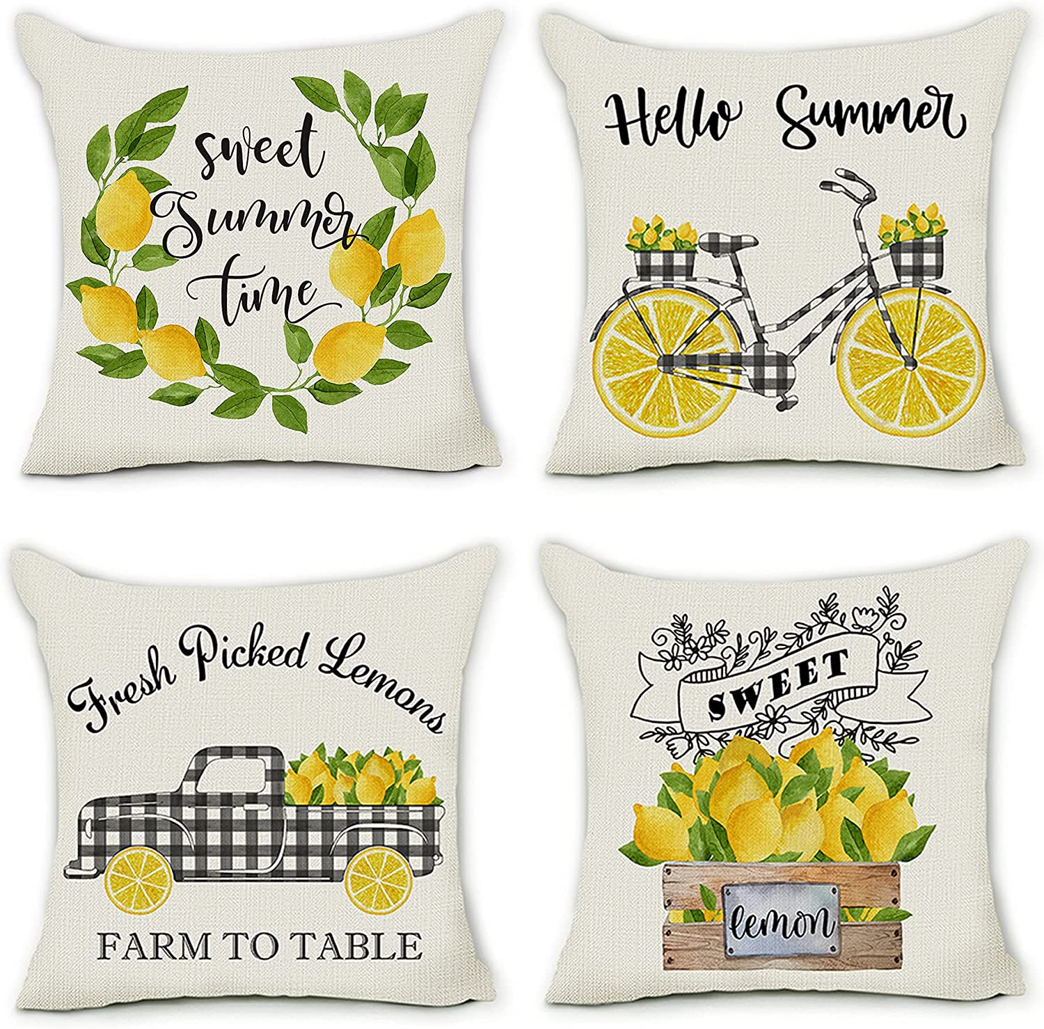 pinata Summer 2021 autumn and winter new Pillow Covers 18x18 Set Lemon Farmhouse of Max 63% OFF Throw 4