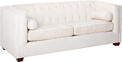Amazon.com: Baxton Studio Valencia Sofa in Brown and Walnut ...