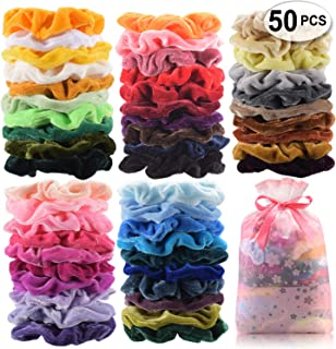 50 PCS Premium Velvet Hair Scrunchies Hair Bands Scrunchy Hair Ties Ropes Scrunchie for Women or Girls Hair Accessories with collection bags