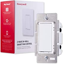Honeywell Z-Wave Plus Smart Fan Speed Control, 3-Speed In-Wall Paddle Switch, White and Almond | Built-In Repeater Range Extender | ZWave Hub Required - SmartThings, Wink, Alexa Compatible, 39358