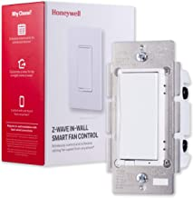 Honeywell Z-Wave Plus Smart Fan Speed Control, 3-Speed In-Wall Paddle Switch, White and Almond |Built-In Repeater Range Ex...