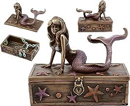 Ebros Gift Bronzed Resin Mermaid Ariel Resting Jewelry Box Figurine 5