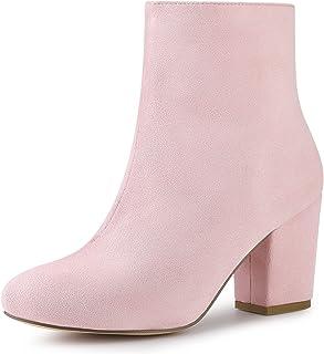 Allegra K Women's Round Toe Chunky Heel Ankle Boots