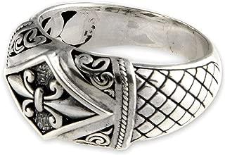 NOVICA .925 Sterling Silver Floral Domed Ring, Fleur De Lis'