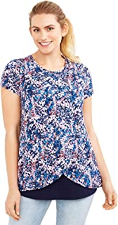 168a624feb465 Motherhood Maternity Women's Maternity Short Sleeve Scoop Neck Layered  Tulip Nursing Tee Shirt