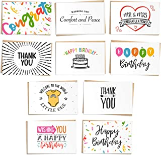 120 Greeting Cards Assortment - Thank you, Birthday, Sympathy, Baby Shower, Congratulations and Wedding Cards with Craft Paper Envelopes