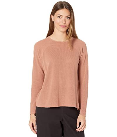 Eileen Fisher Organic Linen Cotton Crew Neck Top (Terracotta) Women