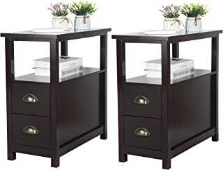 SUPER DEAL Upgraded Narrow Chairside End Table Living Room Bedroom Nightstand w/ 2 Drawers and Shelf, Espresso