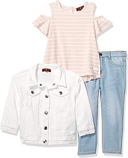 Girls' Toddler Jacket, Cold Shoulder Top, and Denim Jean Set