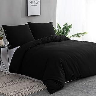 MOHAP Housse de Couette 240x260cm + Taies d'oreillers 65x65x2 cm Noir 110 Fils/cm² Parure de Lit 2 Personnes avec Fermetur...
